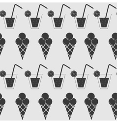 Drink and ice-cream seamless pattern background vector