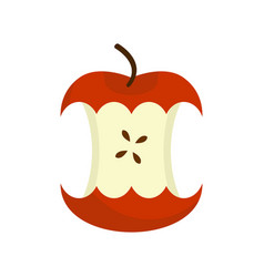 Red apple core isolated fruit trash rubbish on vector