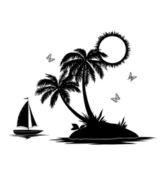 Island with palm and ship silhouettes vector