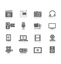 Black icons - multimedia vector