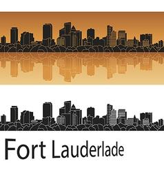 Fort Lauderlade skyline in orange vector image