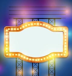 Retro bulb circus cinema light sign template vector image