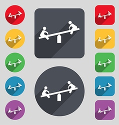 Swing icon sign a set of 12 colored buttons and a vector