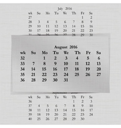 Calendar month for 2016 pages august vector