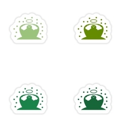 Set of paper stickers on white background newborn vector