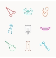 Medical mask blood and dental pliers icons vector