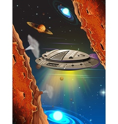 Spaceship flying in the space vector