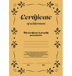 Gold vertical certificate template vector