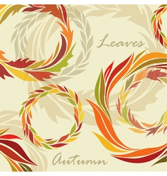 Autumn background of leaves and wreaths vector