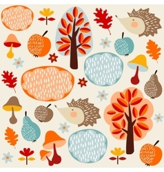 Autumn fall seamless pattern with fruit hedgehogs vector image vector image