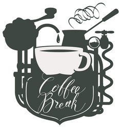 Banner with a coffee cup and retro coffee machine vector