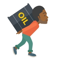 Black businessman carrying barrel of oil vector
