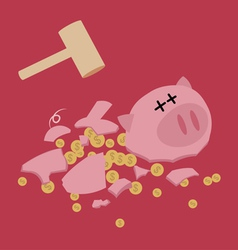 Broken piggy bank with hammer saving money vector
