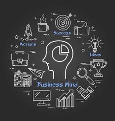 Chalk board - business mind vector