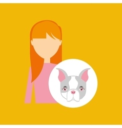 character girl pet french bulldog graphic vector image vector image