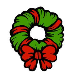 Christmas festive holiday wreath bow icon vector