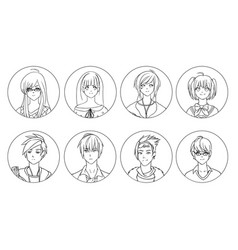 collection of male and female anime or manga vector image