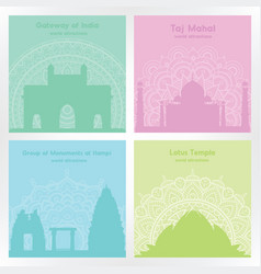 colorful square cards with silhouettes indian vector image vector image