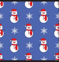 Cute snowman blue seamless pattern background vector