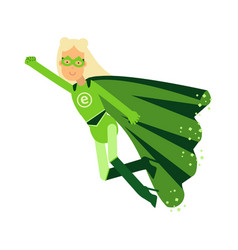 ecological superhero blonde woman in green costume vector image