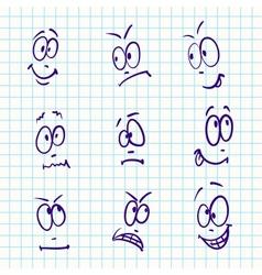 Emotion set of nine face on notebook paper vector image vector image