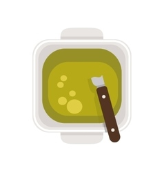 Food plate with green sauce vector