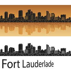 Fort Lauderlade skyline in orange vector image