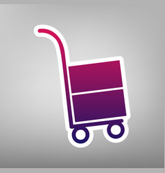 Hand truck sign purple gradient icon on vector