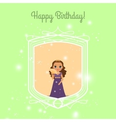 Happy birthday card with fairy princess vector