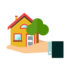 house in hand flat design icon vector image vector image