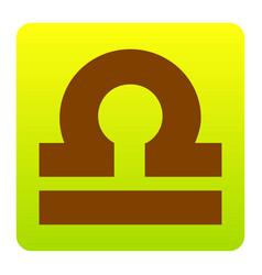 Libra sign brown icon at vector