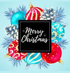 merry christmas greeting postcard vector image vector image