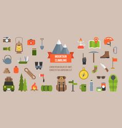 mountain climbing equipments pictogram vector image