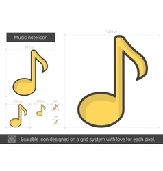 Music note line icon vector