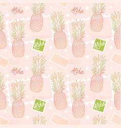 pineapple and postage stamps seamless pattern on vector image