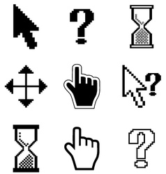Pixel cursors icons-arrow hourglass hand mouse vector image vector image