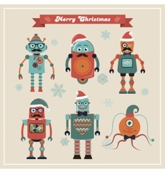 Set of cute retro vintage hipster christmas robots vector