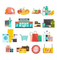 Shopping center icons vector