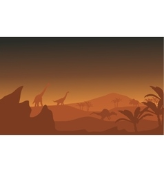 Silhouette of dinosaur in fields vector