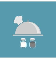 Silver platter cloche chef hat salt pepper shaker vector