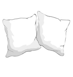 Sketch of pillow art pillow isolated white pillow vector