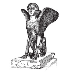 Sphinx of lanuvium is a graeco-roman marble table vector
