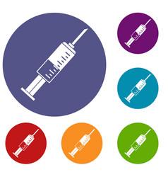 Syringe icons set vector