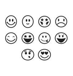 thin line emoticons icon set vector image vector image