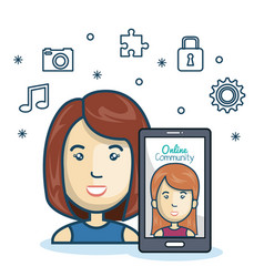 Woman community online smartphone with app media vector