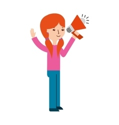 Young woman with megaphone character vector