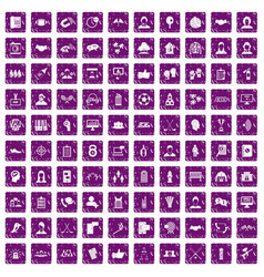 100 team icons set grunge purple vector