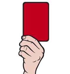 Soccer referees hand with red card vector image