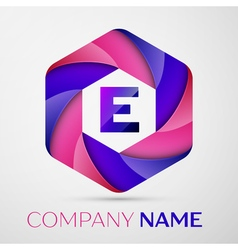 E Letter colorful logo in the hexagonal on grey vector image