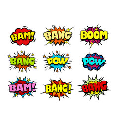 Comic book speech bubbles crash and blast sounds vector